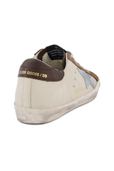 Back angled view image of Golden Goose Women's Superstar Sneaker White/Brown