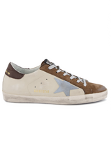 Side view image of Golden Goose Women's Superstar Sneaker White/Brown
