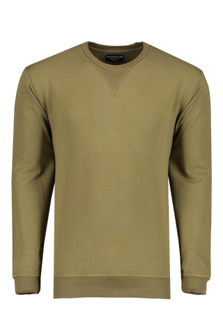 Micro Terry Crew Sweatshirt Olive Night