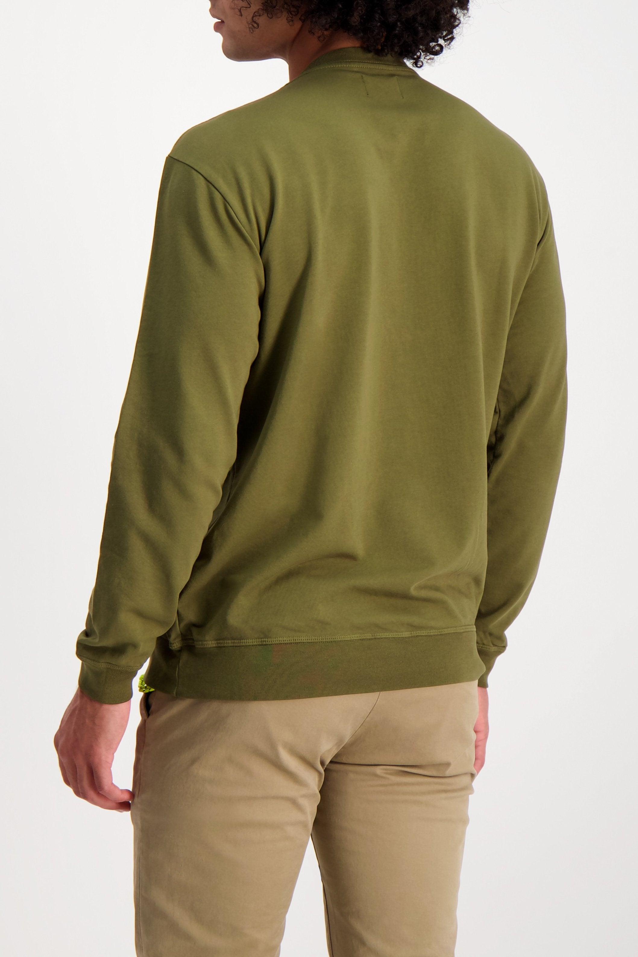 Back Crop Image Of Model Wearing Goodlife Micro Terry Crew Sweatshirt Olive