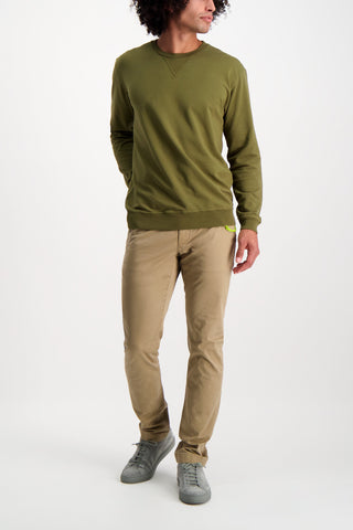 Full Body Image Of Model Wearing Goodlife Micro Terry Crew Sweatshirt Olive