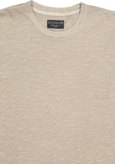 Neckline and sleeve detail image of Goodlife Men's Slub Short Sleeve Scallop Crew Timber