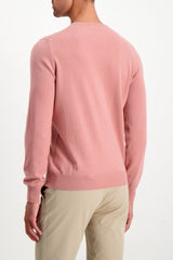 Back Crop Image Of Model Wearing Gran Sasso Men's Crewneck Sweater Pink