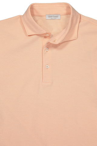 Front Collar Detail Image of Gran Sasso Bicolor Birdseye Polo