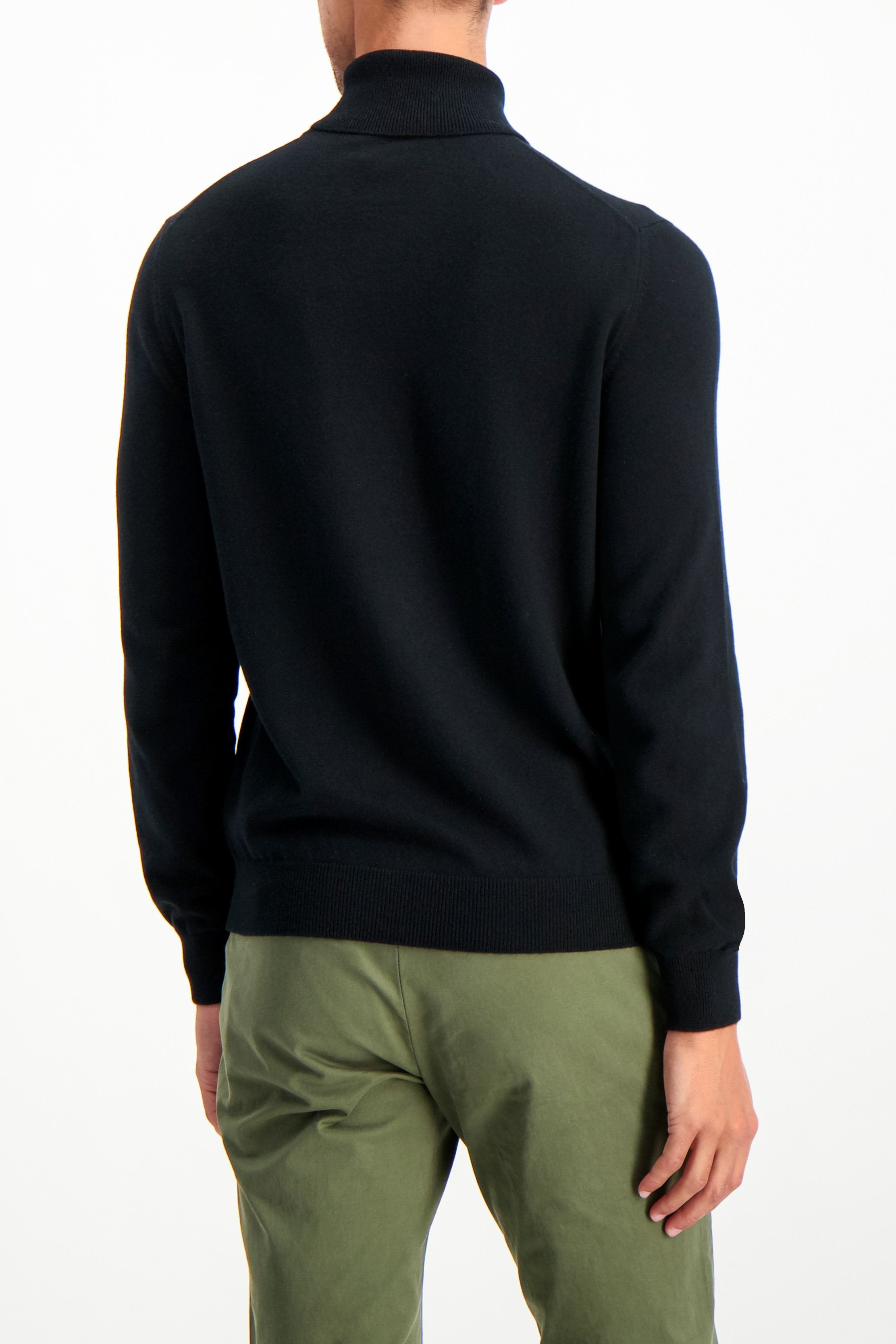 Back Crop Image Of Model Wearing Gran Sasso Turtleneck Sweater Black