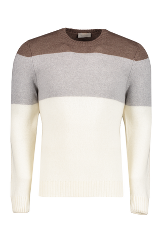 Front image of Gran Sasso Color Block Crewneck Sweater
