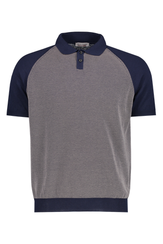Color Block Tennis Polo Navy Grey