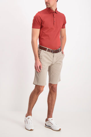 Full image of model wearing Gran Sasso Mercerized Cotton Polo in Coral