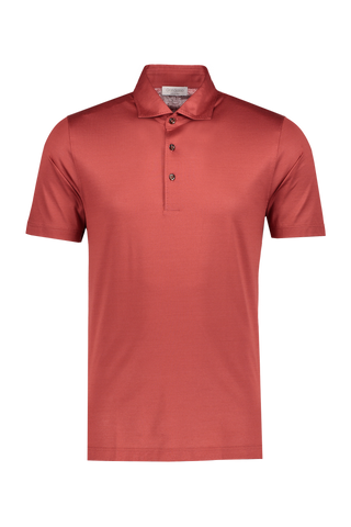 Front image of Gran Sasso Mercerized Cotton Polo in Coral