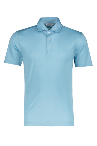 Front view image of Gran Sasso Cotton Short Sleeve Polo Light Blue