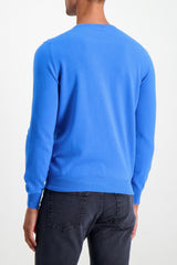 Back Crop Image Of Model Wearing Gran Sasso Crewneck Sweater Blue