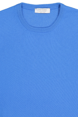 Front collar detail image of Gran Sasso Crewneck Sweater Blue