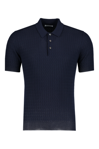 Diamond Weave Polo Navy