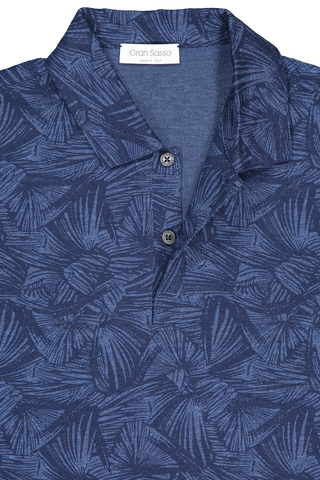 Front collar detail image of Gran Sasso Floral Print Polo Blue