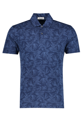 Front view image of Gran Sasso Floral Print Polo Blue