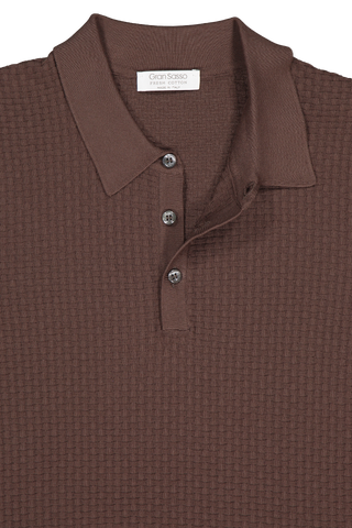 Front collar detail image of Gran Sasso Fresh Cotton Basketweave Polo Chocolate