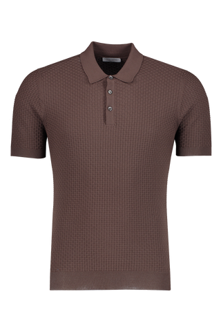 Front view image of Gran Sasso Fresh Cotton Basketweave Polo Chocolate