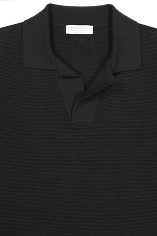 Front collar detail image of Gran Sasso Fresh Cotton Johnny Collar Polo Black