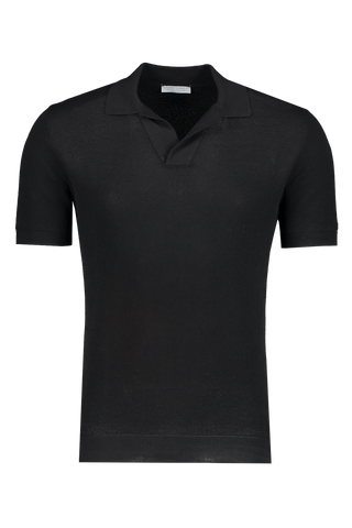 Front view image of Gran Sasso Fresh Cotton Johnny Collar Polo Black