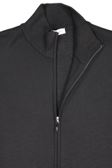 Front collar and zipper detail image of Gran Sasso Men's Full Zip Milano Stitch Mock Jacket Black