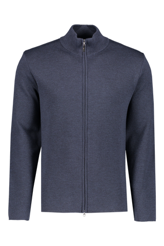 Front view image of Gran Sasso Men's Full Zip Milano Stitch Jacket Mid Blue