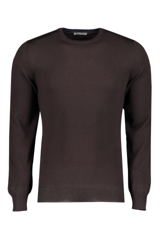 Front image of Gran Sasso Men's Merino Crewneck Sweater Dark Brown