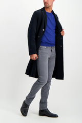 Full Body Image Of Model Wearing Gran Sasso Men's Merino Crewneck Sweater Blue