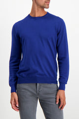 Front Crop Image Of Model Wearing Gran Sasso Men's Merino Crewneck Sweater Blue