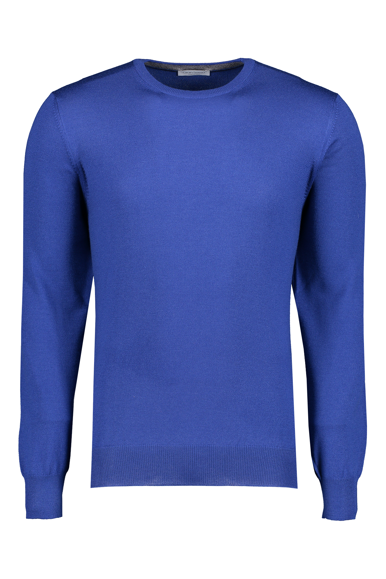 Front view image of Gran Sasso Men's Merino Crewneck Sweater Blue