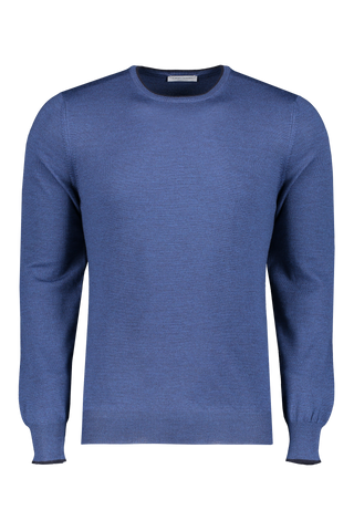 Front image of Gran Sasso Men's Merino Crewneck Tipped Cuff Sweater
