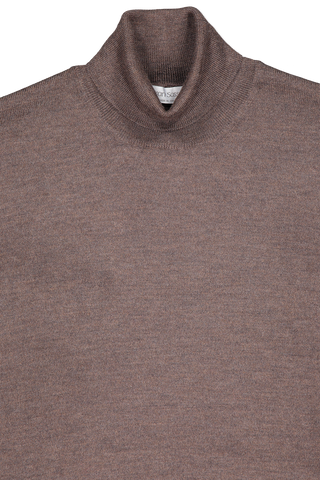 Neckline detail image of Gran Sasso Men's Merino Turtleneck Sweater Heather Brown