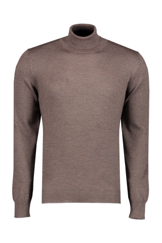 Front image of Gran Sasso Men's Merino Turtleneck Sweater Heather Brown