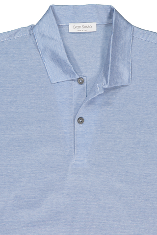Front collar detail image of Gran Sasso Stripe Classic Polo Light Blue