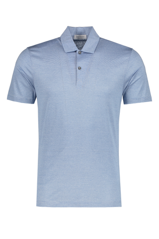 Front view image of Gran Sasso Stripe Classic Polo Light Blue