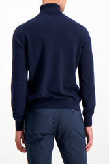 Back Crop Image Of Model Wearing Gran Sasso Turtleneck Sweater Navy