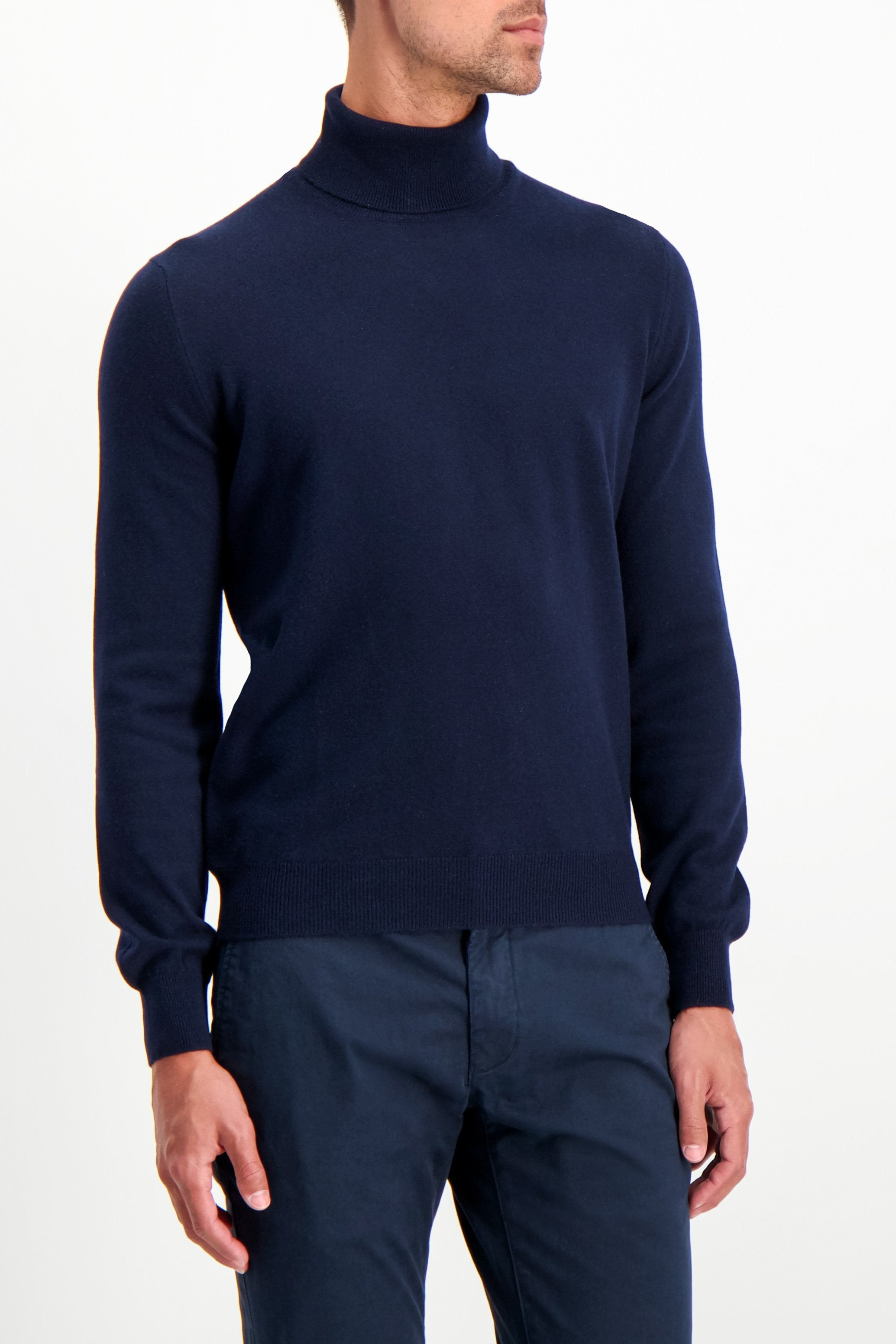 Front Crop Image Of Model Wearing Gran Sasso Turtleneck Sweater Navy
