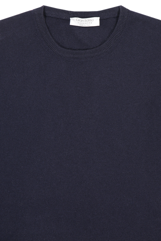 Front collar detail image of Gran Sasso Men's Crewneck Sweater Navy