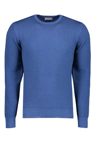 Front view image of Gran Sasso Vintage Popcorn Stitch Sweater Bright Blue