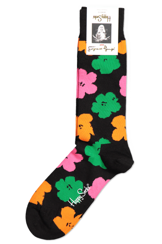 Front Image Andy Warhol Graphic Flower Sock Black Multi