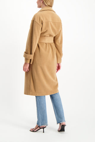 Back Crop Image Of Model Wearing Harris Wharf London Women's Oversized Trench Coat Polaire