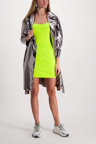 Drop Shoulder Belted Coat Laminated