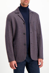 Front Crop Image Of Model Wearing Harris Wharf London Dropped Shoulder Jacket Tattersall