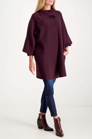 Kimono Mantle Military Coat Bordeaux