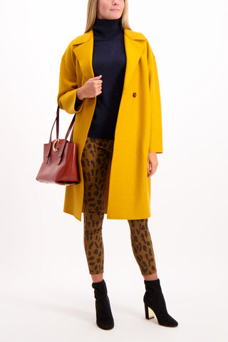 Full Body Image Of Model Wearing Harris Wharf London Women's Double Breasted Coat Golden