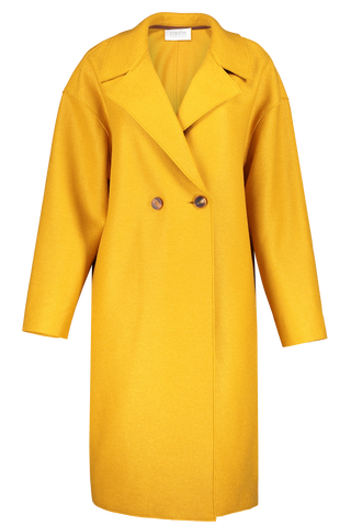Front image of Harris Wharf London Women's Double Breasted Coat Golden