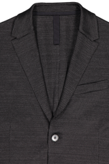 Lapel detail image of Harris Wharf London Men's Two Button Blazer Linen Jersey