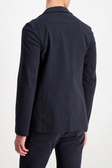 Back crop image of model wearing Harris Wharf London Men's Blazer Peached Cotton Blue