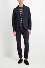 Full image of model wearing Harris Wharf London Men's Blazer Peached Cotton Blue