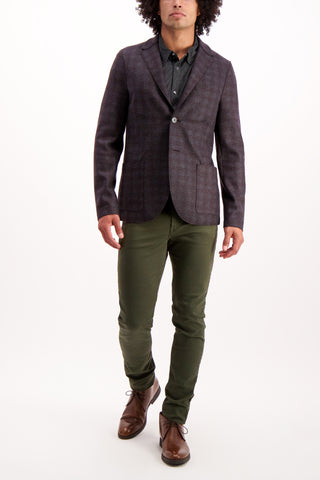 Full Body Image Of Model Wearing Harris Wharf London Men's 2 Button Blazer Flannel Tartan