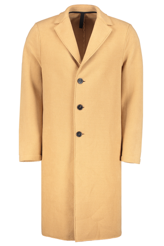 Front image of Harris Wharf London Men's Overcoat Polaire Tan